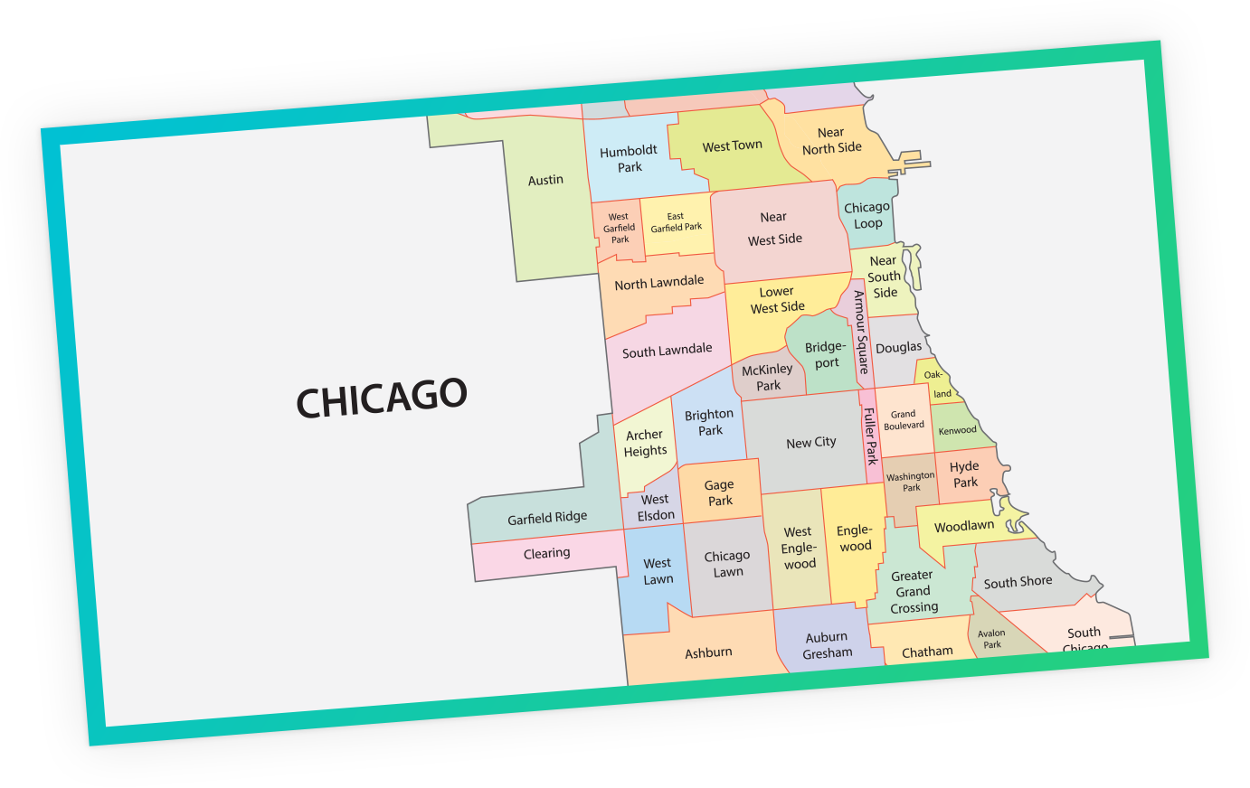 Map of Chicago, USA
