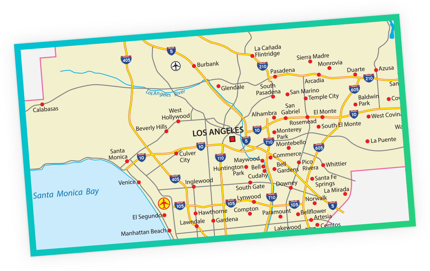 Map of Los Angeles, USA