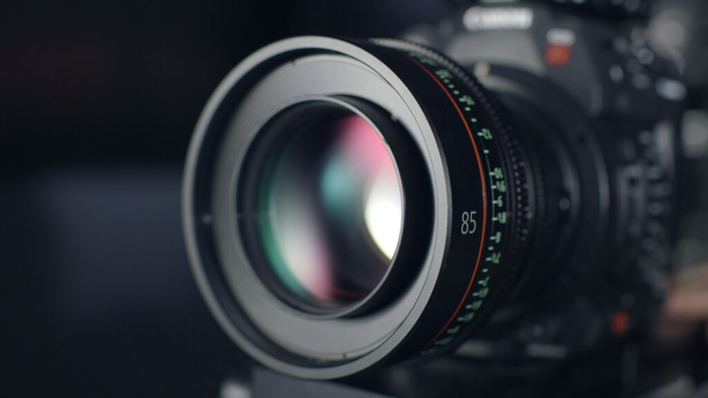 A camera is photographed close-up