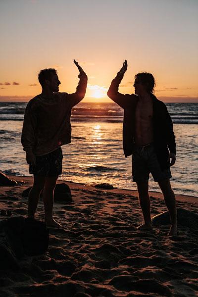 high five at the beach