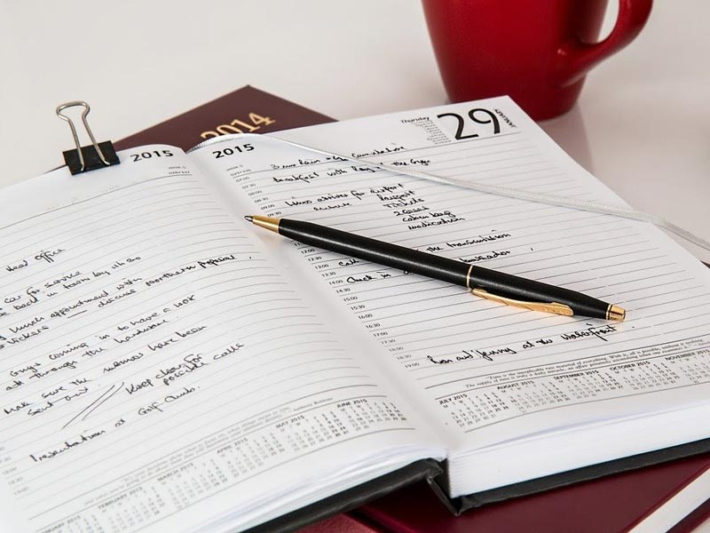 planner with a calendar