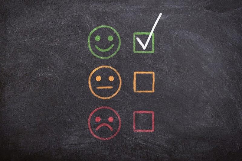 survey responses on a chalkboard
