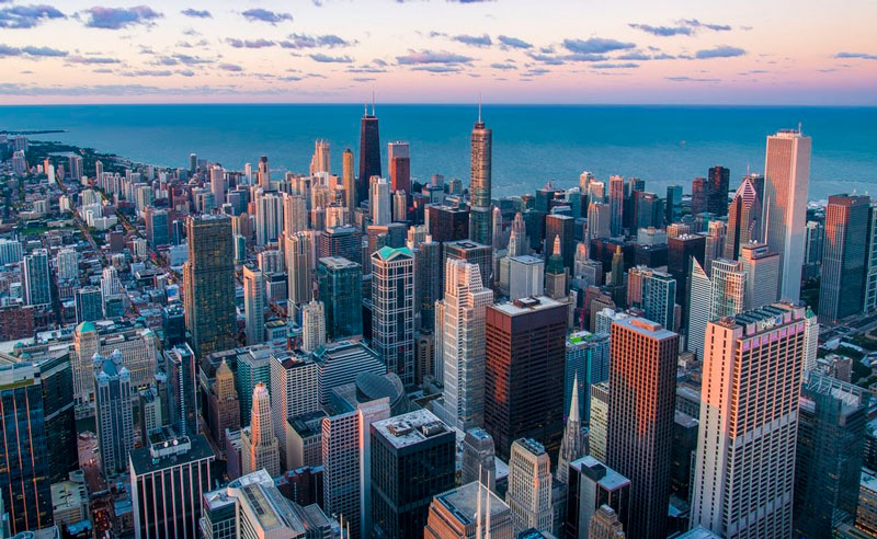 aerial view chicago skyline