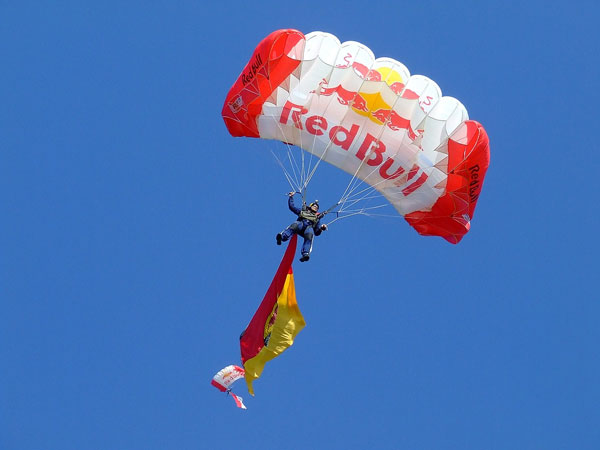 parachute advertising red bull sponsoring